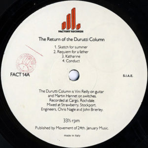 THE DURUTTI COLUMN – The Return Of The Durutti Column