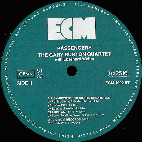 THE GARY BURTON QUARTET with EBERHARD WEBER - Passengers
