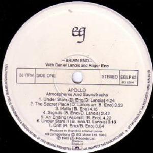 BRIAN ENO – Apollo Atmospheres & Soundtracks