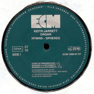 KEITH JARRETT ORGAN – Hymns Spheres