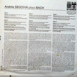 ANDRES SEGOVIA – Segovia Plays Bach