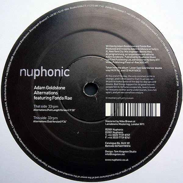 ADAM GOLDSTONE feat FONDA RAE - Alternations