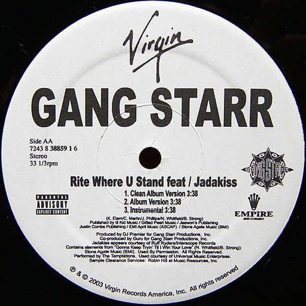 GANG STARR feat JADAKISS & BOY BIG - Nice Girl, Wrong Place/Rite Where U Stand